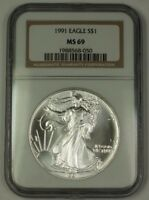 1991 American Silver Eagle ASE Dollar $1 Coin NGC MS-69 Nearly Perfect GEM