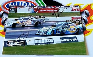 """NHRA MULTI SIGNED 8.5X11 PHOTO RON CAPPS & """"FAST"""" JACK BECKMAN FUNNY CAR CHAMPS"""