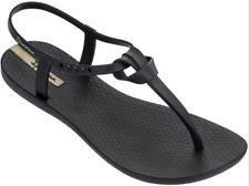Ipanema Women`s Flip Flops Ellie Sandal Black Brazilian T-Strap Sandals NWT