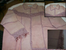 Women's Ladies Leather Jacket  with embroidered block sets and sleeve  24W