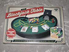 Mini Blackjack Table Vegas Style Felt Cards Poker Chips Home Office Travel NEW!