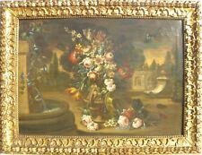 Vaso di fiori in un giardino monumentale Olio su tela 85x120 + splendida cornice