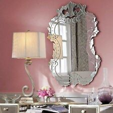 """NEW 40""""H Venetian Engraved Wall Mirror Horchow Shabby French Chic Oval"""