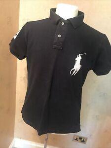 Ralph Lauren Polo Shirt M Blue White Horse Logo 44 Chest