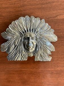 vintage  Brass Indian face belt buckle. Indian Chief Great Vintage Piece