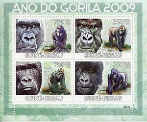 Guinea-Bissau Wild Animals Stamps 2009 MNH Year of Gorilla Gorillas Fauna 4v M/S