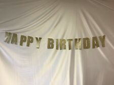 Gold Glitter Banner Happy Birthday Bunting Home Party Decor Photo Backdrop US