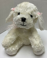"""Russ Berrie Plush Mollie Dog 9"""" White Pink Ribbons Silky Soft Rare Puppy"""
