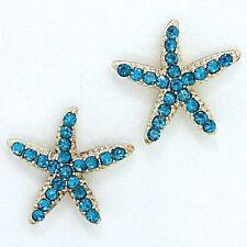 Blue Zircon Teal Crystal Rhinestone Starfish Earrings (Sparkle-1957)