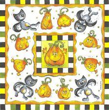 2 Serviettes en papier Vielseidig Citrouille Chat Halloween - Paper Napkins Cat
