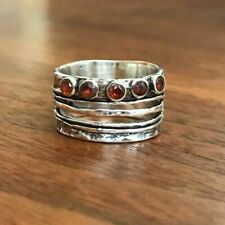 & Sterling Silver Hammered Ring Band Sundance Catalog / New Size 7 Garnet
