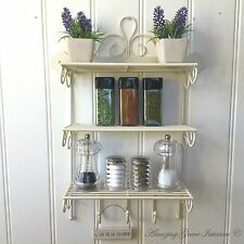 Shabby Chic Metal Wall Shelf Unit Hooks Storage Kitchen Spice Rack Display