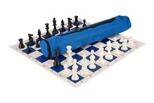 Quiver Chess Set Combination - Triple Weighted - Royal Blue Bag / Board
