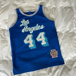 Mitchell & Ness HWC Los Angeles Lakers Jerry West Blue Men's Sewn Jersey Small