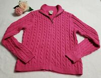 LL Bean Womens XS Pink Cotton Full Zip Mock Neck Cable Knit Cardigan Sweater