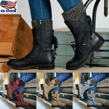 Womens Mid Calf Boots Flats Low Heels Lace Up Shoes Winter Warm Boots Shoes Size