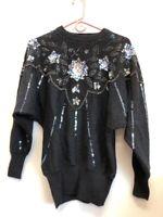 Vintage Woman's Eminent Black Embellished Sweater Size L             SS213