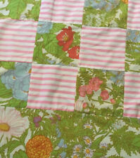 "Vintage Patchwork Round Tablecloth Pink Green Floral Stripe Mod 72"" Pretty!"