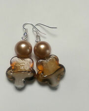 Lampwork brown flower bead, silver plated, gold bead pearl effect, 20mm(83)