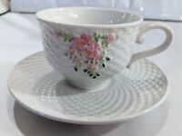Vintage 1985 Teleflora Collectible Cup And Saucer Basket Weave