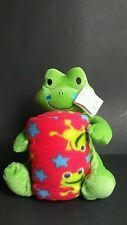 "Plush 11"" Green Frog & 40X50"" Multi Color Throw Blanket Buddy Set #33891 NWT"
