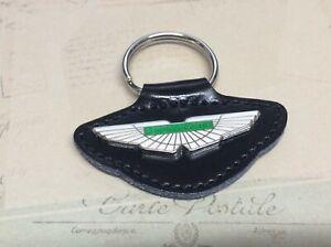 ASTON MARTIN ENAMEL Quality Black Real Leather Keyring
