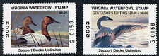 Virginia 2002 & 2003 Governor Stamps Matching #'S Limited Editions D103