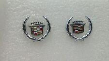 SET OF 2 - NOS NEW Cadillac Door Seat Light Door Pull Wreath & Crest Emblems