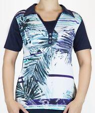 Shirt, Poloshirt Kurzarm, Baumwolle/Viskose - blau / grün / weiß 42 - 56