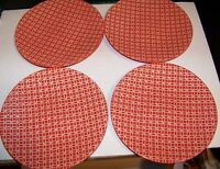 "Pier 1 LIVINGSTON Pattern Red/ Orange 8.25"" salad/dessert plates  4pc."