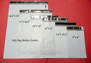 35 Poly Bag Mailer Variety Pack ~ 6 Small to Large Sizes ~ Plastic Shipping Bags