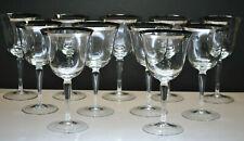 "New listing Beautiful Set Of (11) Crystal Wine Glasses Platinum Rim Smooth Stem 6-3/4"""