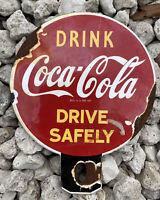 VINTAGE COCA COLA PORCELAIN SIGN LICENSE PLATE TOPPER GAS BEVERAGE COKE SODA POP