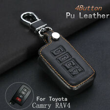 4 Button PU Leather Remote Key Chain Fob Shell Case Cover For Toyota Camry RAV4