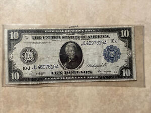 1913 USA FEDERAL RESERVE NOTE 10 DOLLARS