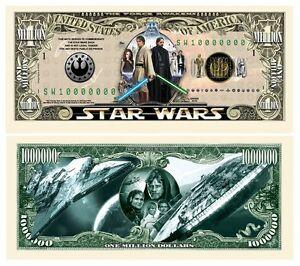 Original Star Wars Collectible 1 Million Novelty Dollar Bills 50 Pack