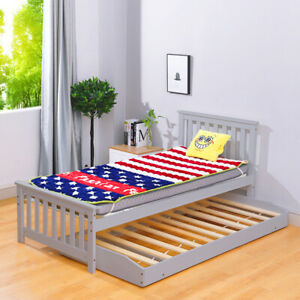 3FT Single Bed Pull Out Trundle Bed Daybed Solid Pine Wood Bedroom Furniture