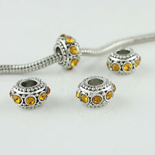 10X Czech Crystal Rhinestone Silver Big Hole Spacer European Charm Beads 6x10mm