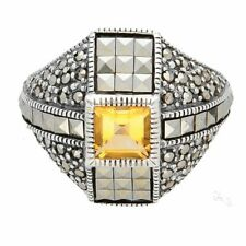 Sterling Silver Citrine & Marcasite Cluster Ring (Size O 1/2) 18mm Widest