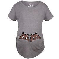 Maternity Peeking Baby Twins African American Pregnancy Tshirt Cute Tee For Mom