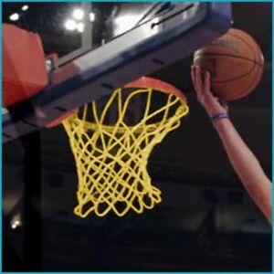 2x Basketball Korb Turniernetz DIN EN 1270, Turnier Netz, PA 4 mm ø, Nylon, Gelb