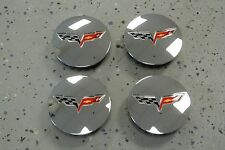 NEW 2005-13 Corvette C6 Chrome Center Caps Crossed Flags 2 5/8 Complete Set (4)