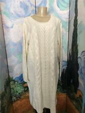 Jessica London Plus 1X New Ivory Cable Link Long Sleeve Below Knee Sweater Dress
