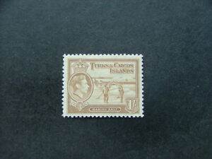 Turks & Caicos Islands KGVI 1938 1/- yellow-bistre SG202 MM