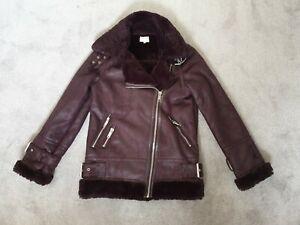 Warehouse Ladies Purple Aviator Style Coat Faux Sheepskin- Size 6