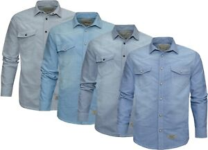 Mens Denim Shirts 100% Cotton Plain Snap Button Long Sleeve with Pockets S - 2XL