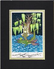 MARDI GRAS MERMAID, NEW ORLEANS ARTIST Jamie Hayes, SIGNED AND MATTED, BAYOU