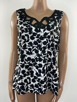 M&S Linen Mix Black And White Sleeveless Top Size 18