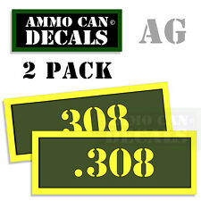 .308 Ammo Can Box Decal Sticker Set bullet ARMY Gun safety Hunting 2 pack 308 AG