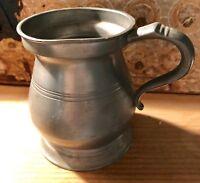 Antique Pewter 1/2 Pint Tankard Tavern Mug